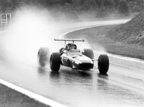 1968 French Grand Prix.Rouen-les-Essarts, France. 7 July 1968.Jacky Ickx, Ferrari 312, 1st position, action, portrait.World Copyright: LAT PhotographicRef: 2048 #26A