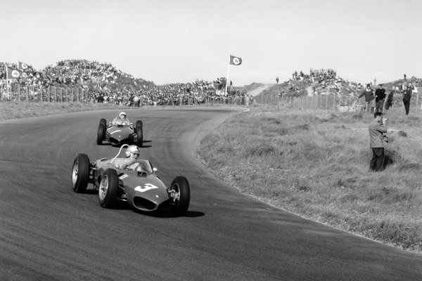 1961 Dutch Grand Prix Zandvoort, Holland. 22 May 1961 Wolfgang von Trips, Ferrari Dino 156, 1st position, leads Phil Hill, Ferrari Dino 156, 2nd position, action World Copyright: LAT PhotographicRef: 8880