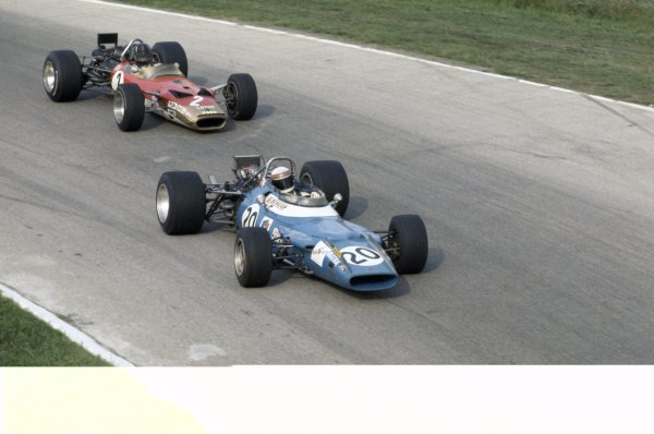 1969 Italian Grand Prix.Monza, Italy. 5-7 September 1969.Jackie Stewart (Matra MS80-Ford Cosworth) leads Graham Hill (Lotus 49B-Ford Cosworth). Stewart finished in 1st position.World Copyright: LAT PhotographicRef: 35mm transparency 69ITA07