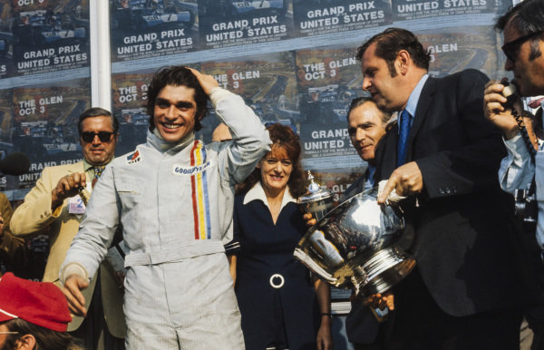 François Cevert celebrates victory on the podium.
