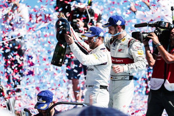 Sam Bird (GBR), Envision Virgin Racing, celebrates victory with Daniel Abt (DEU), Audi Sport ABT Schaeffler, 3rd position,
