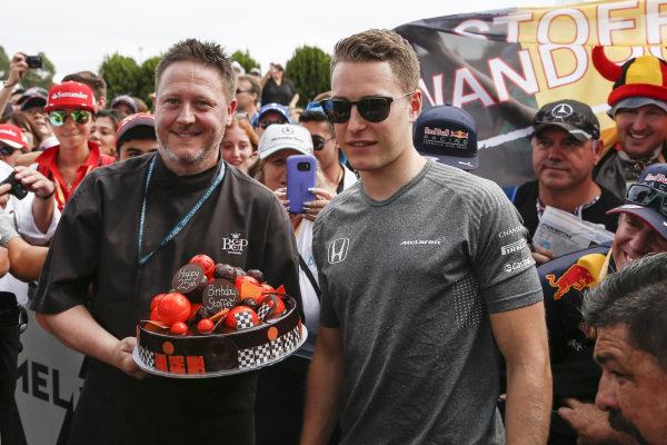 Stoffel Vandoorne (BEL) McLaren celebrates his 25th Birthday with a cake at Formula One World Championship, Rd1, Australian Grand Prix, Race, Albert Park, Melbourne, Australia, Sunday 26 March 2017. BEST IMAGE