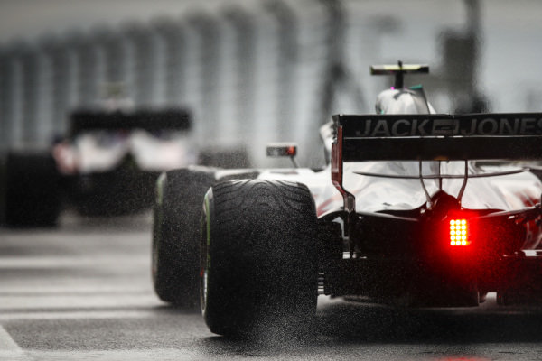 Romain Grosjean, Haas F1 Team VF-18 Ferrari on intermediate tyres.