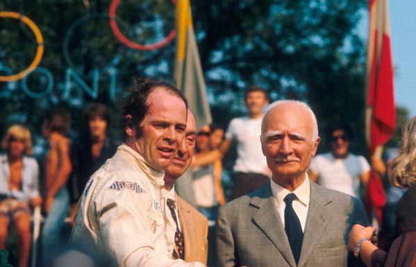 1971 Italian Grand Prix.Monza, Italy.3-5 September 1971.Peter Gethin (Team BRM) 1st position on the podium.Ref-71 ITA 26.World Copyright - LAT Photographic