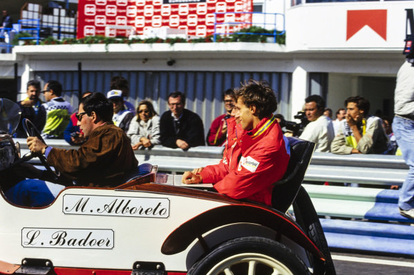 Michele Alboreto and Luca Badoer on the drivers' parade.
