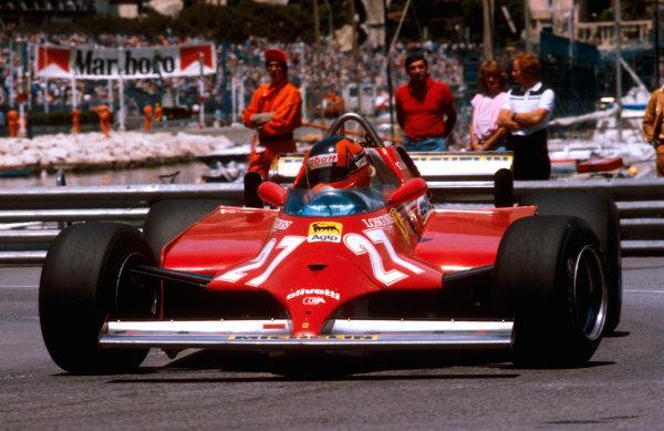 1981 Monaco Grand Prix. Monte Carlo, Monaco. 28-31 May 1981. Gilles Villeneuve (Ferrari 126CK) 1st position. Ref-81MON51. World Copyright - LAT Photographic