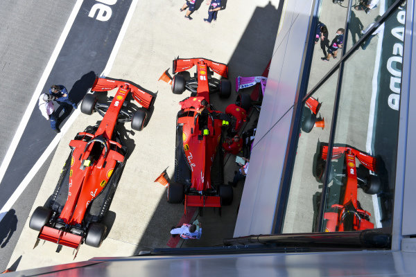 The cars of Sebastian Vettel, Ferrari SF1000, and Charles Leclerc, Ferrari SF1000, in Parc Ferme