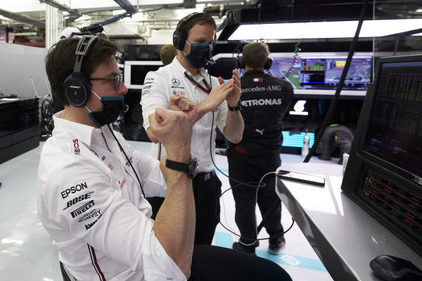 Toto Wolff, Executive Director (Business), Mercedes AMG, celebrates after Lewis Hamilton, Mercedes-AMG Petronas F1, and Valtteri Bottas, Mercedes-AMG Petronas F1, secure a 1-2 in Qualifying