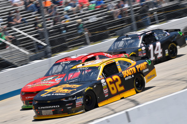 """NASCAR XFINITY Series One Main Financial 200 Dover International Speedway, Dover, DE USA Saturday 3 June 2017 Brendan Gaughan, South Point Hotel & Casino Chevrolet Camaro, Ross Chastain, Delaware Office of Highway Safety """"Protect Your Melon"""" Chevrolet Camaro, JJ Yeley, TriStar Motorsports Toyota Camry World Copyright: Logan Whitton LAT Images ref: Digital Image 17DOV1LW3053"""
