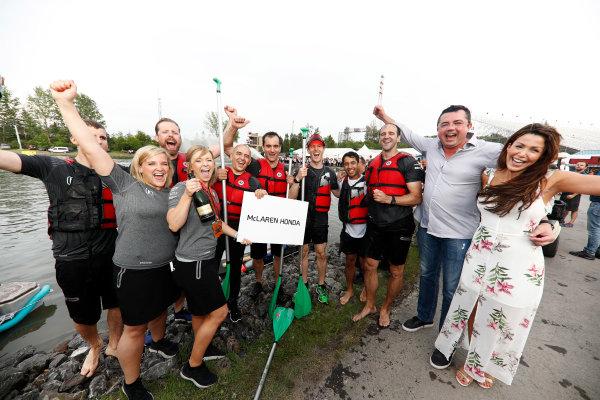 Circuit Gilles Villeneuve, Montreal, Canada. Saturday 10 June 2017. The McLaren raft team celebrate victory with Eric Boullier, Racing Director, McLaren.  World Copyright: Glenn Dunbar/LAT Images ref: Digital Image _X4I7340