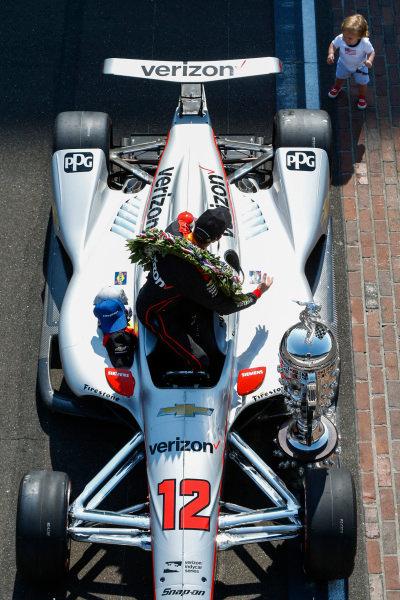 Winner, Will Power, Team Penske Chevrolet, with Baby Beau Power Winner Will Power, Team Penske Chevrolet and team