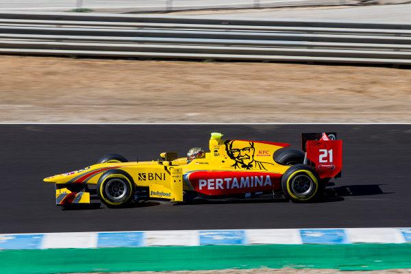 2017 FIA Formula 2 Round 10. Circuito de Jerez, Jerez, Spain. Friday 6 October 2017. Sean Gelael (INA, Pertamina Arden).  Photo: Zak Mauger/FIA Formula 2. ref: Digital Image _X0W0941