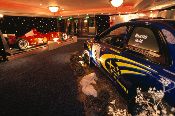 Grosvenor House Hotel, Park Lane, London. 3 December 2000. The championship winning cars of Michael Schumacher and Richard Burns in the Assembly Foyer. World Copyright: Dixon/LAT Photographic Ref: 35mm Transparency Image