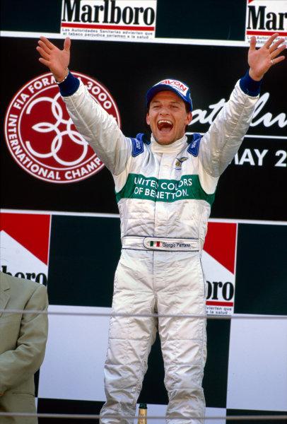 2003 International F3000 ChampionshipBarcelona, Spain. 2nd - 3rd May 2003Race winner Giorgio Pantana (Durango), podium.Photo: Peter Spinney / LAT Photographic ref: 35mm Image 03F3kESP16