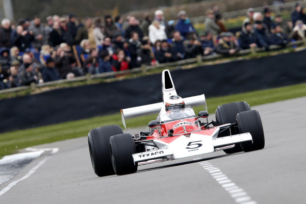 2015 73rd Members Meeting. Goodwood Estate, West Sussex, England. 21st - 22nd March 2015. High air box F1 celebration with Stoffel Vandoorne World Copyright: Gary Hawkins/LAT Photographic ref: Digital Image VANDOORNE_F2R1371