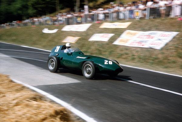 Rouen-Les-Essarts, France. 5-7 July 1957. Roy Salvadori (Vanwall VW1). Ref-57 FRA 10. World Copyright - LAT Photographic