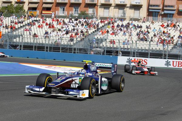 Valencia Street Circuit, Valencia, Spain.  24th June 2012. Sunday Race. Julian Leal (COL, Trident Racing). Action. Photo: Andrew Ferraro/GP2 Media Service. Ref: Digital Image _Q0C9847.jpg