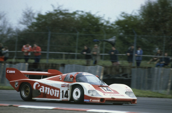 Silverstone, England. 8th May 1983. Rd 2.Jan Lammers/Richard Lloyd/Thierry Boutsen (Porsche 956), 3rd position, action. World Copyright: LAT Photographic.Ref:  83SIL05