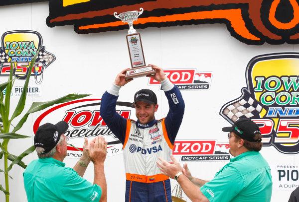19-20, June 2010, Newton, Iowa, USAE J. Viso celebrates his first IndyCar podium finish.©2010, Phillip Abbott, USALAT Photographic
