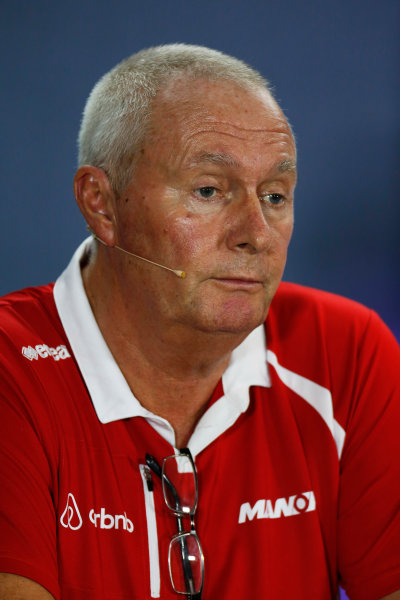 Marina Bay Circuit, Singapore. Friday 18 September 2015. John Booth, Team Principal, Manor Marussia F1, in the team principals Press Conference. World Copyright: Alastair Staley/LAT Photographic ref: Digital Image _79P0770