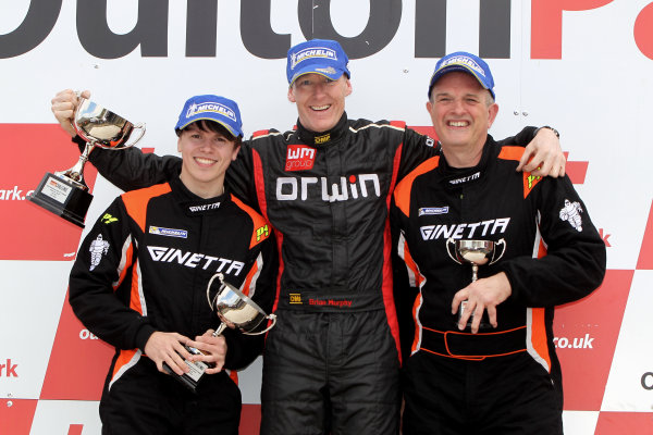 2014 Protyre Motorsport Ginetta GT5 Challenge, Oulton Park, Cheshire. 19th April 2014. Race 1 G20 Podium (l-r) Alex Preston (GBR) Tolman Motorsport Ginetta G20, Brian Murphy (GBR) Orwin Ginetta G20, David Pattison (GBR) Tolman Motorsport Ginetta G20. World Copyright: Ebrey / LAT Photographic.