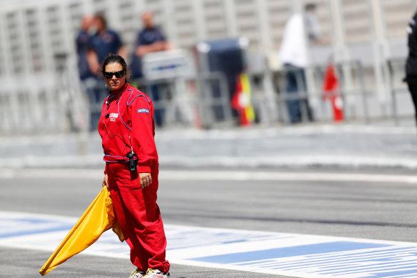 Circuit de Catalunya, Barcelona, Spain. Wednesday 14 May 2014. A marshal. World Copyright: Sam Bloxham/LAT Photographic. ref: Digital Image _SBL0356