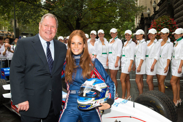 Lord Mayor Robert Doyle (AUS) and Georgia Geminder (AUS) 2014 Australian Grand Prix Ambassador at Melbourne Town Hall. Formula One World Championship, Rd1, Australian Grand Prix, Preparations, Albert Park, Melbourne, Australia, Tuesday 11 March 2014.