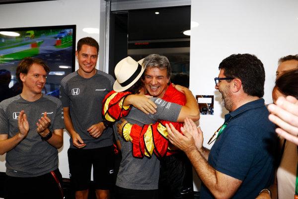 Hungaroring, Budapest, Hungary.  Saturday 29 July 2017. Fernando Alonso, McLaren, celebrates his birthday. World Copyright: Steven Tee/LAT Images  ref: Digital Image _R3I3557