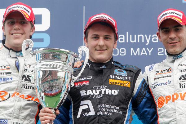 Circuit de Catalunya, Spain. 9th May 2010. Sunday Race.Fabio Leimer (SUI, Ocean Racing Technology) celebrates his victory on the podium with Luiz Razia (BRA, Rapax) and Pastor Maldonado (VEN, Rapax). Photo: Andrew Ferraro/GP2 Media Service.Ref: _Q0C3172 jpg