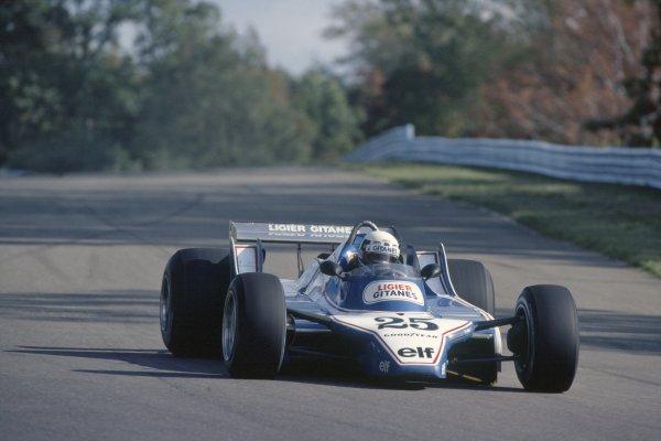 1980 United States Grand Prix.Watkins Glen, USA. 3-5 October 1980.Didier Pironi (Ligier JS11/15-Ford Cosworth), 3rd position.World Copyright: LAT PhotographicRef: 35mm transparency 80USA05