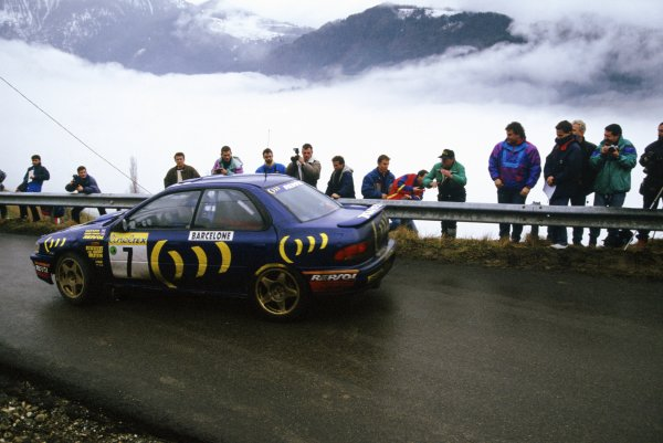 1994 World Rally Championship.Monte Carlo Rally, Monaco. 22-27 January 1994.Colin McRae/Derek Ringer (Subaru Impreza 555), 10th position.World Copyright: LAT PhotographicRef: 35mm transparency 94RALLY23