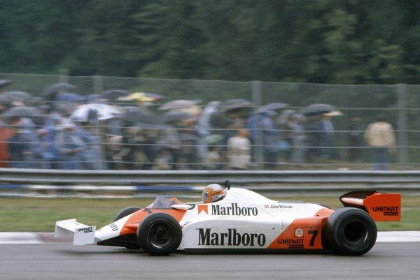 1981 San Marino Grand Prix.Imola, Italy. 1-3 May 1981.John Watson (McLaren MP4/1-Ford Cosworth), 10th position.World Copyright: LAT PhotographicRef: 35mm transparency 81SM18