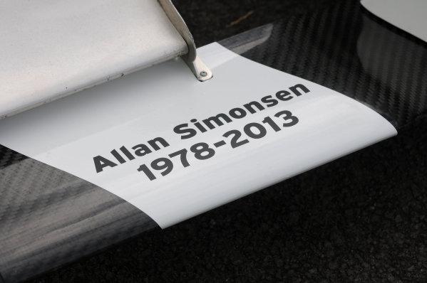 2013 MSA Formula Ford Championhip, Croft, North Yorkshire. 22nd-23rd June 2013, Allan Simonsen tribute on the car of Sam Brabham (GBR) JTR Formula Ford 200. World Copyright: Ebrey/LAT Photographic
