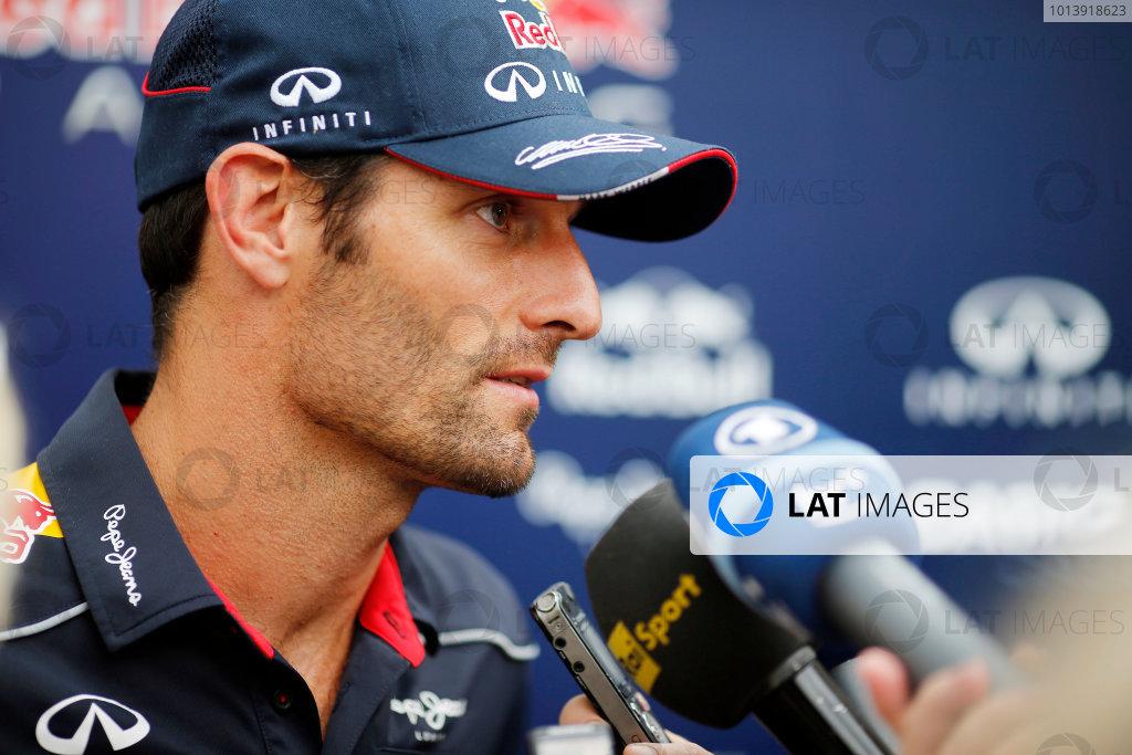 Bahrain International Circuit, Sakhir, Bahrain Friday 19th April 2013 Mark Webber, Red Bull Racing.  World Copyright: Steven Tee/LAT Photographic ref: Digital Image _14P7550