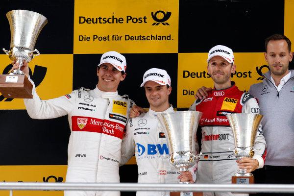 2017 DTM Round 2 Lausitzring, Germany. Saturday 20 May 2017. Podium: Race winner Lucas Auer, Mercedes-AMG Team HWA, Mercedes-AMG C63 DTM, second place Robert Wickens, Mercedes-AMG Team HWA, Mercedes-AMG C63 DTM, third place Ren? Rast, Audi Sport Team Rosberg, Audi RS 5 DTM World Copyright: Alexander Trienitz/LAT Images ref: Digital Image 2017-DTM-R2-ESL-AT1-2701