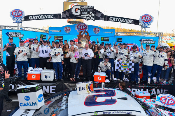 2017 Monster Energy NASCAR Cup Series STP 500 Martinsville Speedway, Martinsville, VA USA Sunday 2 April 2017 Brad Keselowski and team celebrate in victory lane World Copyright: Logan Whitton/LAT Images ref: Digital Image 17MART1LW2758