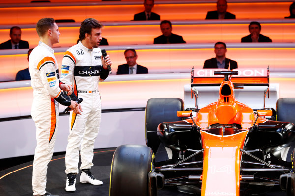 McLaren MCL32 Honda Formula 1 Launch. McLaren Technology Centre, Woking, UK. Friday 24 February 2017. Fernando Alonso, McLaren, and team-mate Stoffel Vandoorne, discuss the MCL32 on stage. World Copyright: Steven Tee/LAT Images Ref: _O3I4978