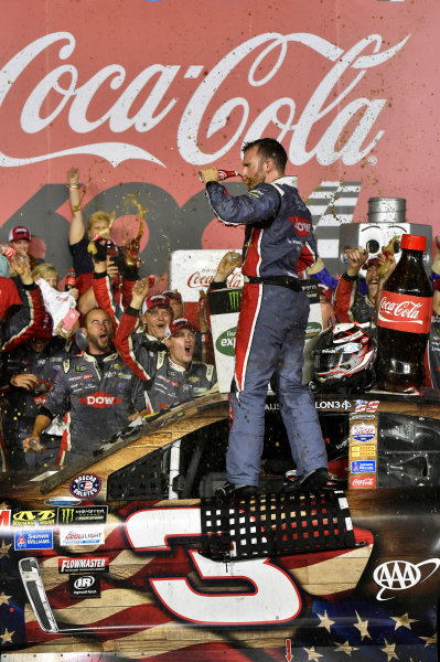 Monster Energy NASCAR Cup Series Coca-Cola 600 Charlotte Motor Speedway, Concord, NC USA Monday 29 May 2017 Austin Dillon, Richard Childress Racing, Dow Salutes Veterans Chevrolet SS celebrates his win in Victory Lane World Copyright: Nigel Kinrade LAT Images ref: Digital Image 17CLT2nk10656