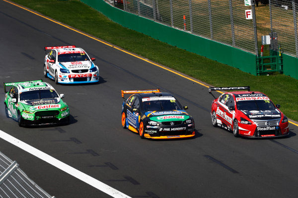 Australian Supercars Series Albert Park, Melbourne, Australia. Sunday 26 March 2017. Race 4. Simone de Silvestro, No.78 Nissan Altima, Nissan Motorsport and Team Harvey Norman, leads Alex Rullo, No.62 Holden Commodore VF, Lucas Dumbrell Motorsport, Mark Winterbottom, No.5 Ford Falcon FG-X, The Bottle-O Racing Team and Monster Energy Racing, and Tim Slade, No.14 Holden Commodore VF, Brad Jones Racing. World Copyright: Zak Mauger/LAT Images ref: Digital Image _56I0256
