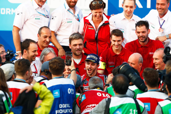 2017/2018 FIA Formula E Championship. Round 2 - Hong Kong, China. Sunday 03 December 2017. Daniel Abt (GER), Audi Sport ABT Schaeffler, Audi e-tron FE04, celebrtes with his team after winning the race. Photo: Sam Bloxham/LAT/Formula E ref: Digital Image _J6I7835