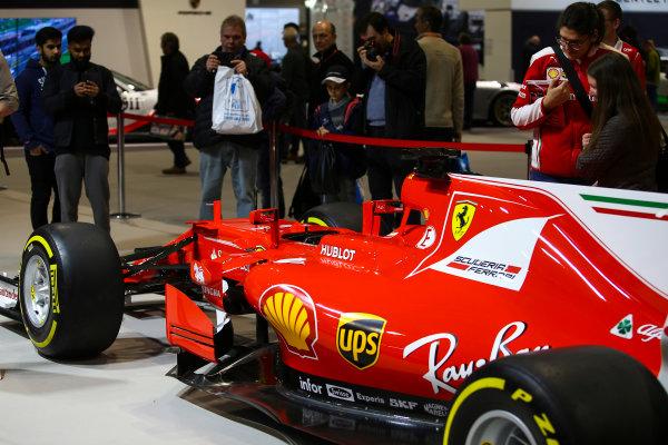 Autosport International Exhibition. National Exhibition Centre, Birmingham, UK. Sunday 14th January 2018. The Ferrari display.World Copyright: Mike Hoyer/JEP/LAT Images Ref: MDH10357