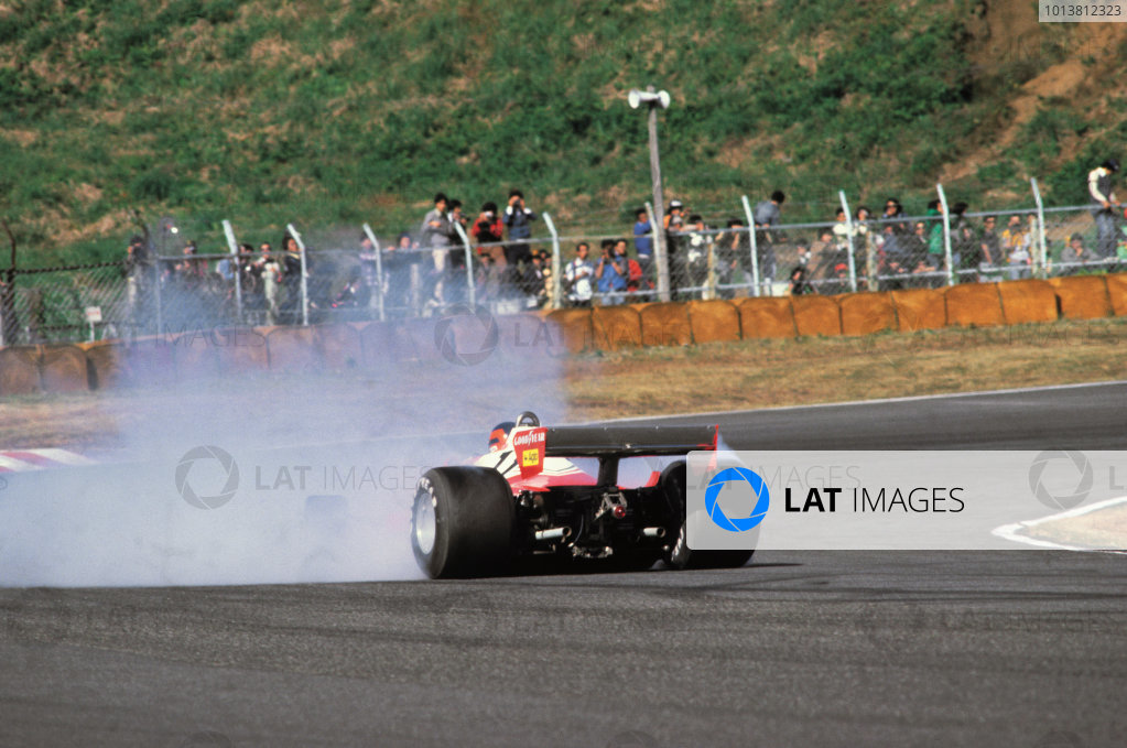 Fuji, Shizuoka, Japan. 21 - 23 October 1977.Gilles Villeneuve (Ferrari 312T2), retired, action. World Copyright: LAT Photographic.Ref:  77JAP35.