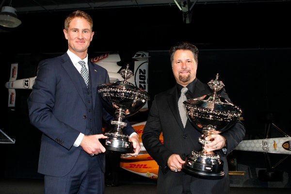 6 December, 2012, Indianapolis, Indiana USA Ryan Hunter-Reay and Michael Andretti with Astor cups.(c)2012, Russell LaBounty LAT Photo USA .