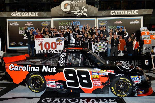 February 21-22, 2013 Daytona Beach, Florida USA Johnny Sauter in Victory Lane.(c) 2013, Brian Czobat LAT Photo USA .