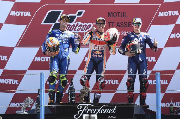 Podium: second place Alex Rins, Team Suzuki MotoGP, Race winner Marc Marquez, Repsol Honda Team, third place Maverick Viñales, Yamaha Factory Racing.
