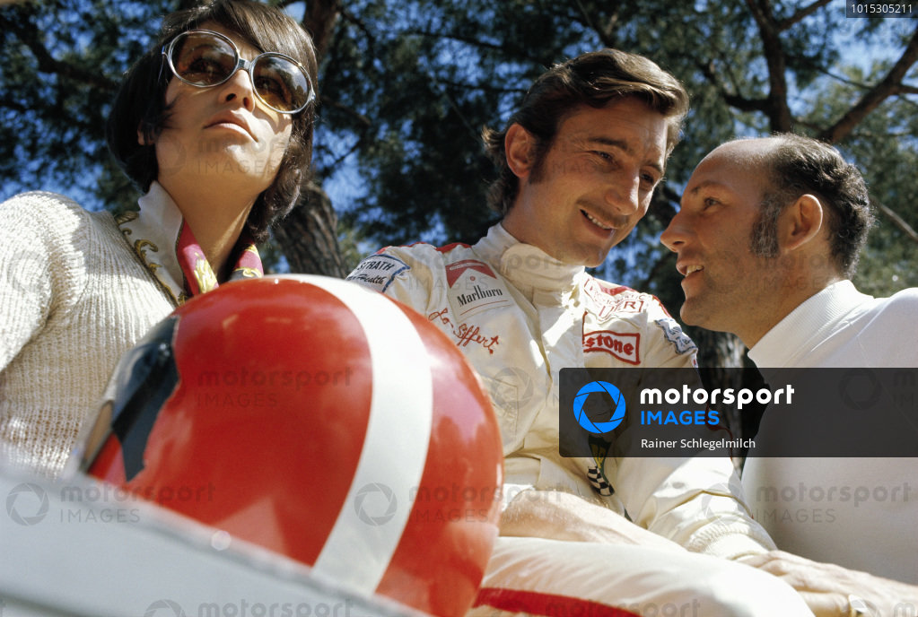 Simone Siffert, her husband Jo and Stirling Moss.