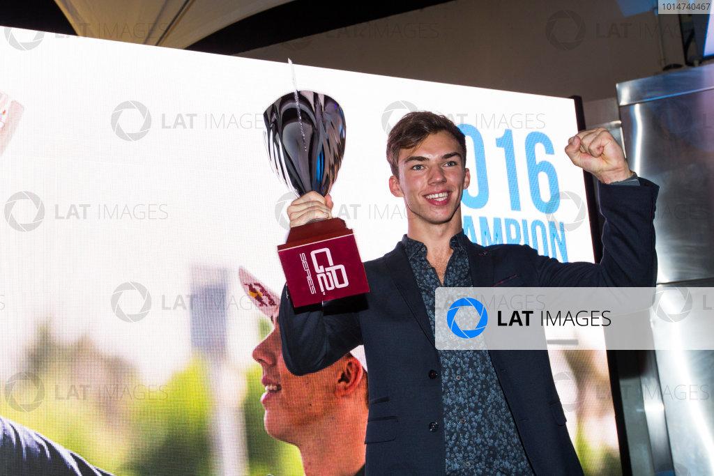 2016 GP2/3 Awards Evening. Yas Marina Circuit, Abu Dhabi, United Arab Emirates. Sunday 27 November 2016. Pierre Gasly (FRA, PREMA Racing)  Photo: Sam Bloxham/GP2 Series Media Service/GP3 Series Media Service. ref: Digital Image _SLA9888