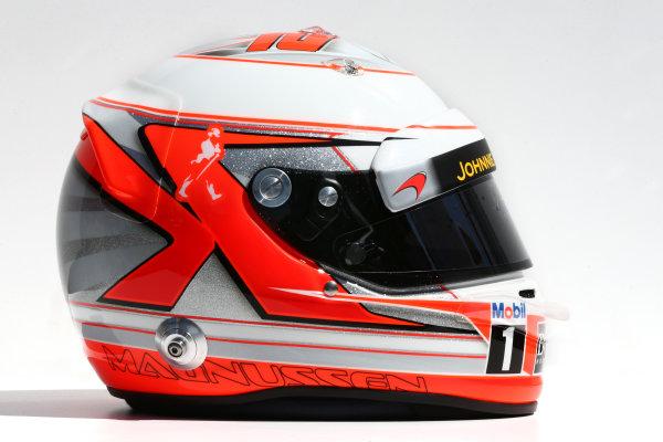 Albert Park, Melbourne, Australia. Thursday 13 March 2014. The helmet of Kevin Magnussen (DEN) McLaren. World Copyright: xpb Images/LAT Photographic. ref: Digital Image 2014helmets04