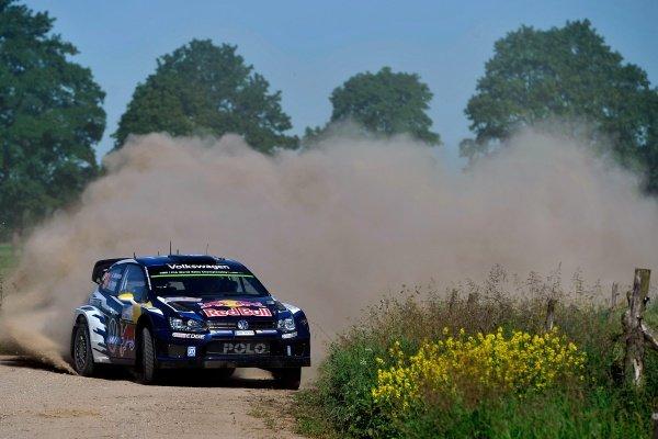 Andreas Mikkelsen (NOR) / Ola Floene (NOR) Volkswagen Polo R WRC at FIA World Rally Championship, Rd7, Lotos 71st Rally Poland, Day One, Mikolajki, Poland, Friday 3 July 2015.