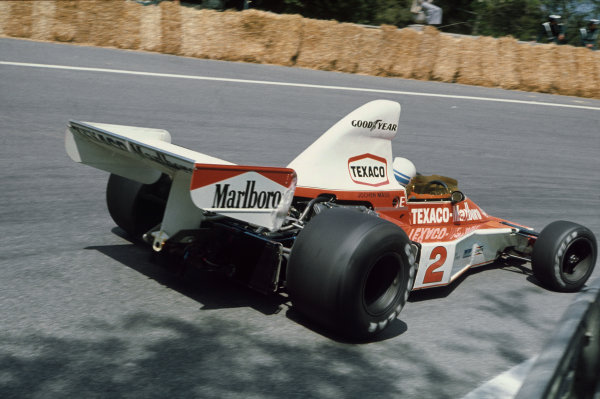 Montjuich Park, Barcelona, Spain. 25-27 April 1975. Jochen Mass, McLaren M23 Ford, taking his only grand prix win. Ref: 75ESP06. World Copyright - LAT Photographic